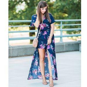 high low maxi romper xhilaration navy blue floral
